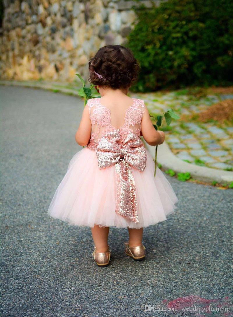 2017 Baby Infant Toddler Blush Pink Birthday Party Dresses Rose Gold Sequins Bow Crew Neck Tea Length Wedding Flower Girl Dresses Lace