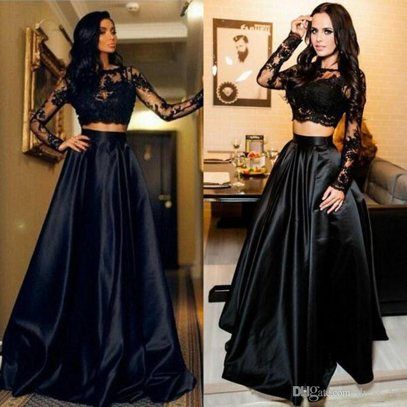 Modest 2017 Black Lace Long Sleeve Top Satin Skirt Two Piece Evening Dresses  Cheap Formal Dresses Evening Wear Custom Made EN9168 Formal Dress For Women  ... 862ffcba8