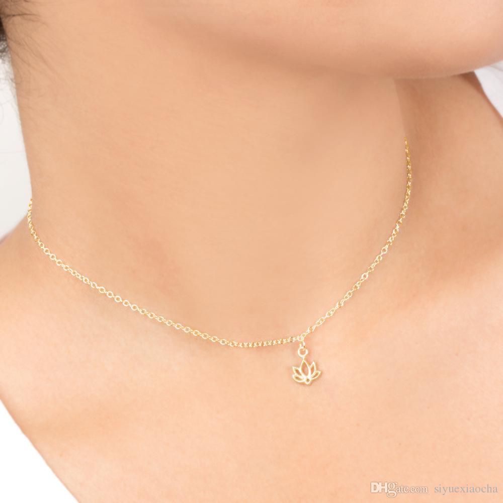 Con la carta! Collana carina con pendente Lotus nuovo begnning, colore argento e oro, spedizione gratuita e alta qualità.