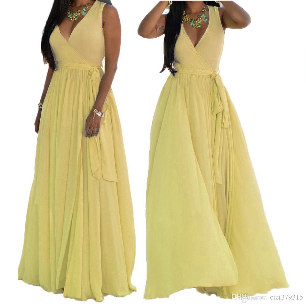 New Summer V Neck Chiffon Maxi Dress High Slit With Belt Long Beach Sleeveless Plus Size Women Clothing Vestido De Festa New S