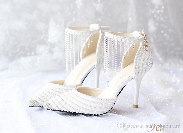 3dac4eb504d316 White Women Sandals Pearls Tassels Bridal Bridesmaid Wedding Shoes Sexy  Prom Evening Night Club Party Heels 9 CM Heels 068 White Women Sandals  Bridal ...