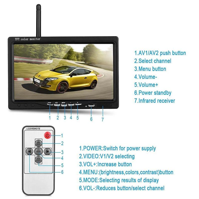 "Wireless Dual Backup Cameras Car Parking Assistance Night Vision Waterproof Rearview Camera 7"" Monitor Kit for RV Truck Trailer Bus"