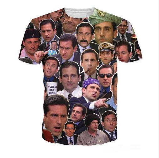 Newest Fashion Womens/mens Many Faces of Michael Scott Paparazzi Funny 3D Print Casual T-Shirts XTX023