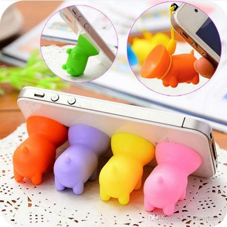 cell phone stand for desk colorful rubber little pig with sucker universal mobile phone bracket for apple samsung LG Huawei /pack