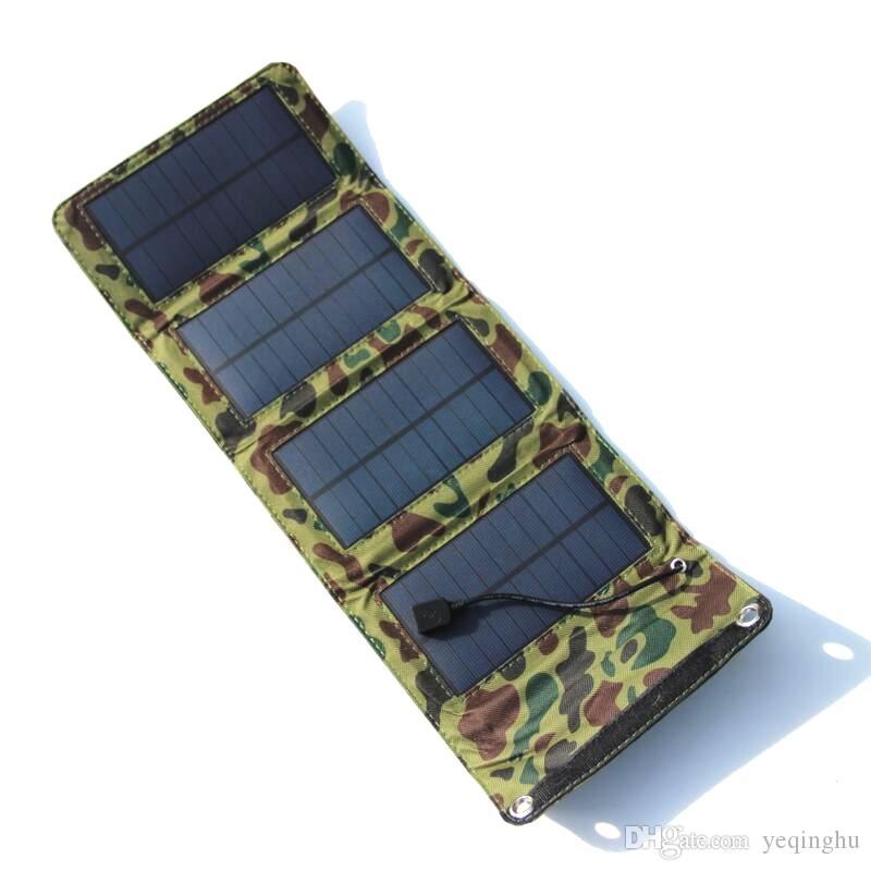 بالجملة! / 7W المحمولة شاحن للطاقة الشمسية خلية لمعظم أجهزة USB طوي لوحة للطاقة الشمسية شاحن USB الإخراج جودة عالية شحن مجاني