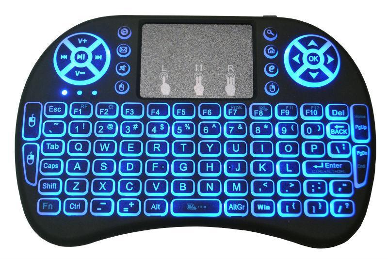 Sem fio Mini i8 Backlight Teclado Retroiluminado Controle Remoto Para Android TV Box 2.4G Teclado Sem Fio Com Touch Pad Para Smart TV PC