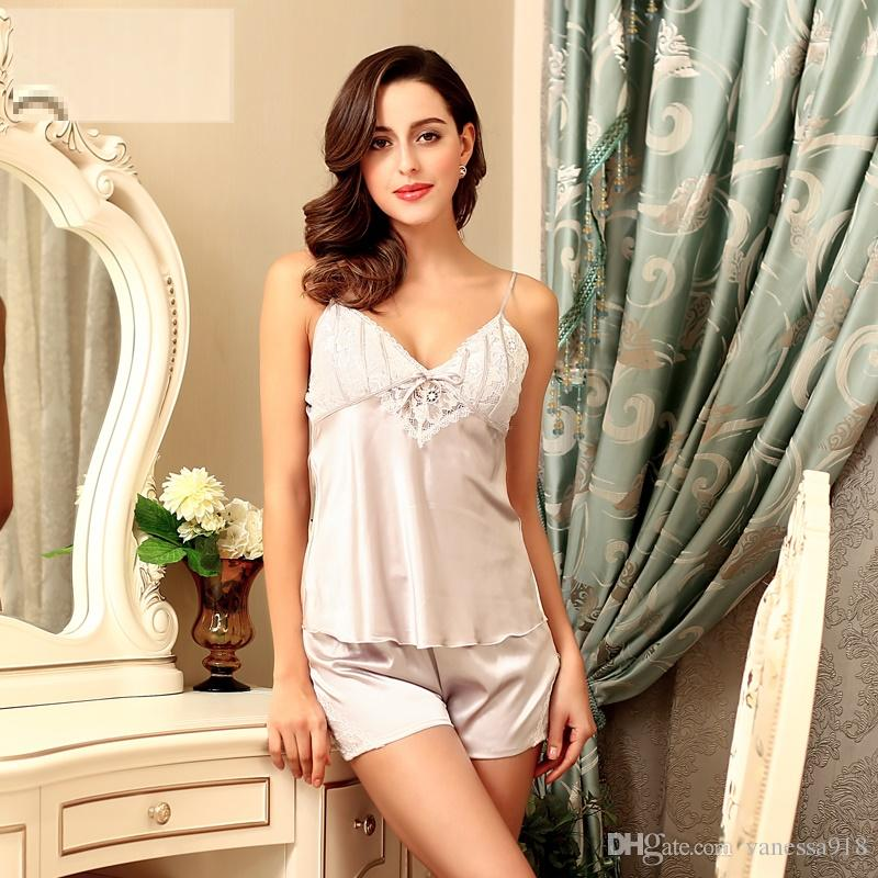 a5bc514927 2019 Plus Size Lingerie Sexy Silk Satin Sleepwear Pajamas Women Lace  Pajamas Cami Pajama Sets V Neck Nightwear With Free Gift Bag SJYT17 From  Vanessa918