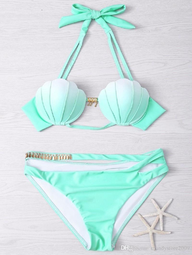 1a4179567e468 2019 Hot Sale Summer Mermaid Bikini Western Style Women Bikinis Gradient  Ramp Color Sexy Shell Swimsuit Low Waist Bathing Suit From Mandystore2009,  ...