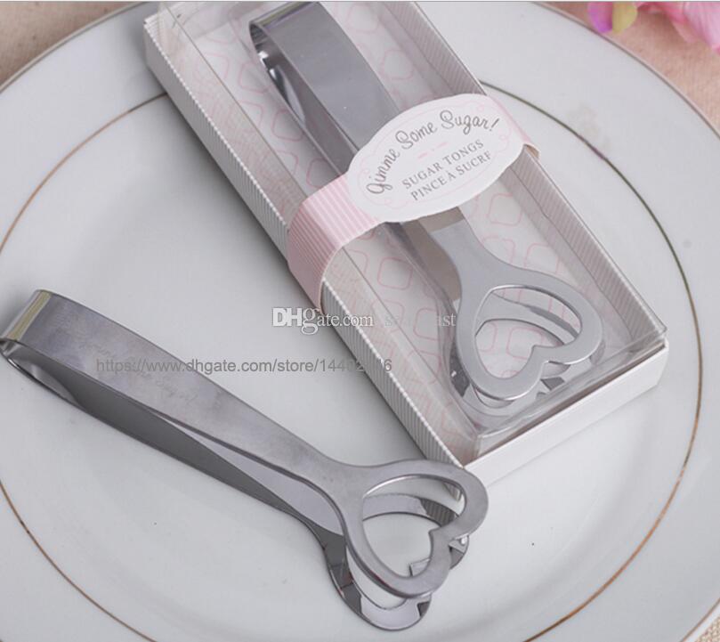 Presente Favor Do Casamento Corte de Aço Inoxidável Açúcar Açúcar Clip Tongs Heart-Shaped Forma de Coração de Prata frete grátis