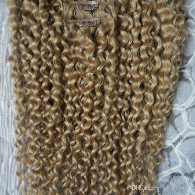 Afro kinky clip in extensions clip in human hair extensions honey blond kinky curly african american clip in human hair extensions