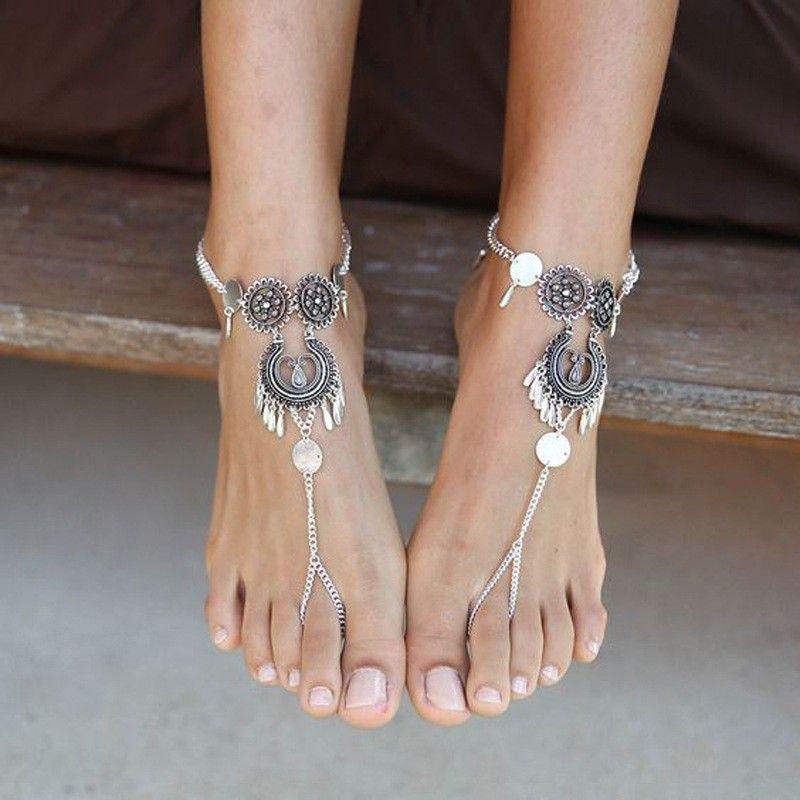 1 stücke Böhmen Metall Rouind Fußkettchen Mode Fußschmuck Kette Quaste Barfuß Sandalen Strand Fußschmuck Fußkettchen Armband Für Frauen Schmuck