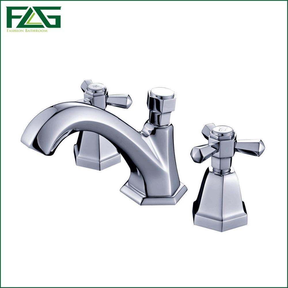 Best Flg Luxury Deck Mounted Double Handle Bathroom Taps Square ...