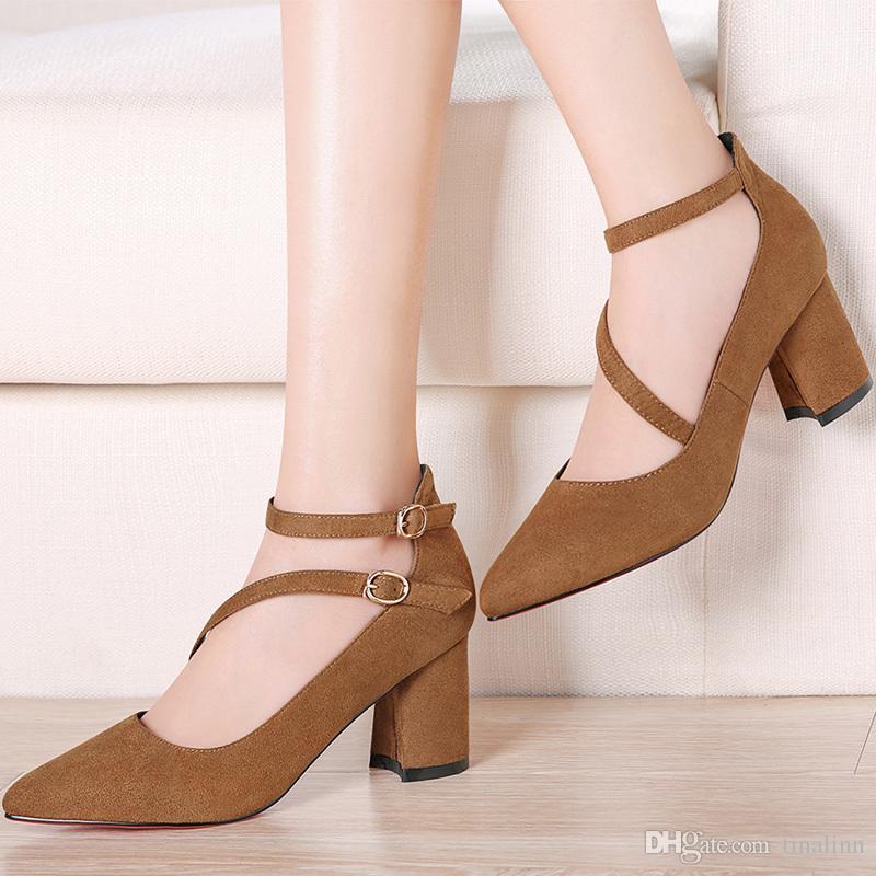 Avec une boîte en cuir nouvelle chaussures habillées pour femmes talon pointu orteils cheville talon haut classique femmes chaussures à talons hauts Chaînes femmes zip chaussures taille 34-40