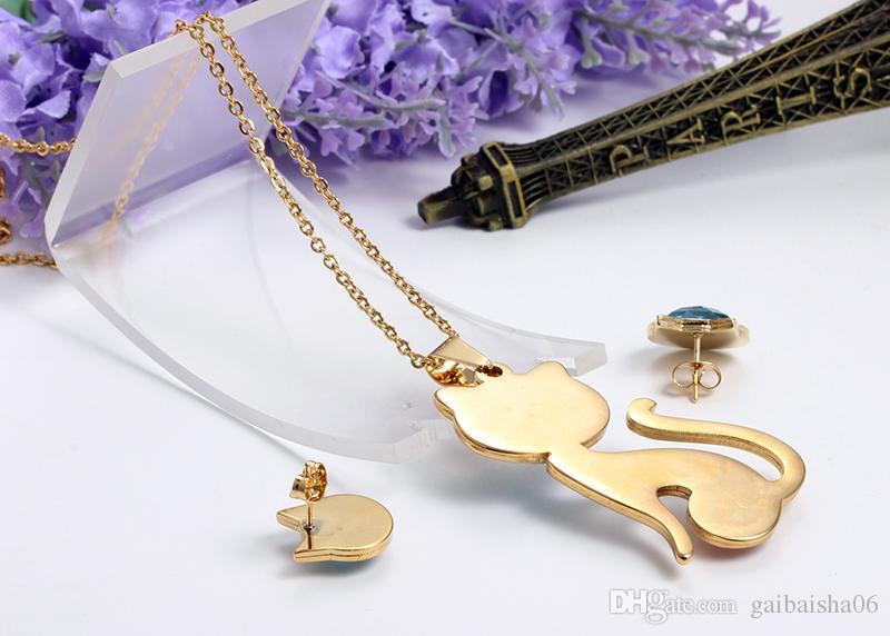 Ожерелье + Серьги Ювелирные Наборы Кристалл Кошка Ювелирные Наборы Для Женщин Мода Из Нержавеющей Стали Золотые подвески Оптом