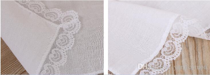 화이트 레이스 얇은 손수건 여자 결혼 선물 파티 장식 천 냅킨 일반 빈 DIY 손수건 25 * 25cm