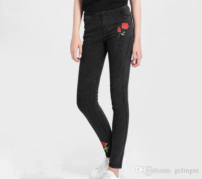 09a4edde7f7 2017 Hot Selling Plus Size Jeans Women Skinny Embroidery Rose Jeans ...