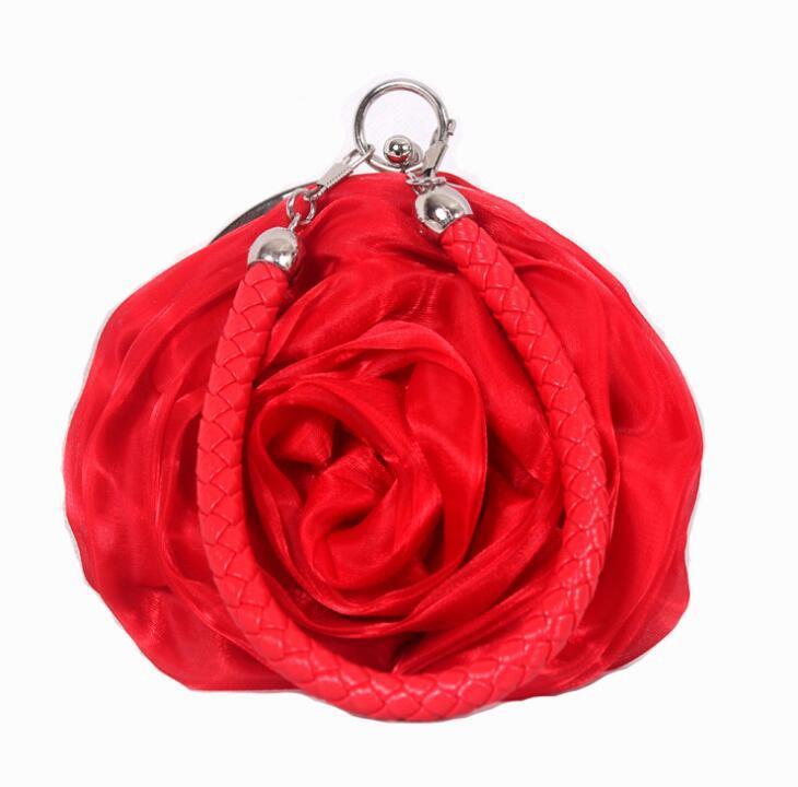 Sweet 3D Rose Flower Handbags Silks Satins Pleated Floral Evening Bags Women Girls Party Handbags Purse Wedding Clutch Leather Band Hand Bag