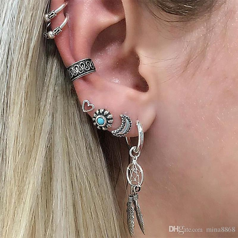 156cc7963 2019 Intage Boho Assorted Stud Earrings Set Retro Metal Pierced Turquoise  Leaf Moon Ear Cuff Earrings Set For Women From Mina8868, $0.71 | DHgate.Com