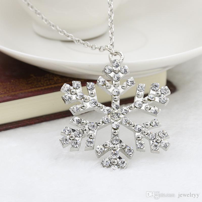 Формы Кристалл Снежинка кулон ожерелье высокое качество посеребренные горный хрусталь ожерелья длинная цепь ожерелье ювелирные изделия для женщин подарок