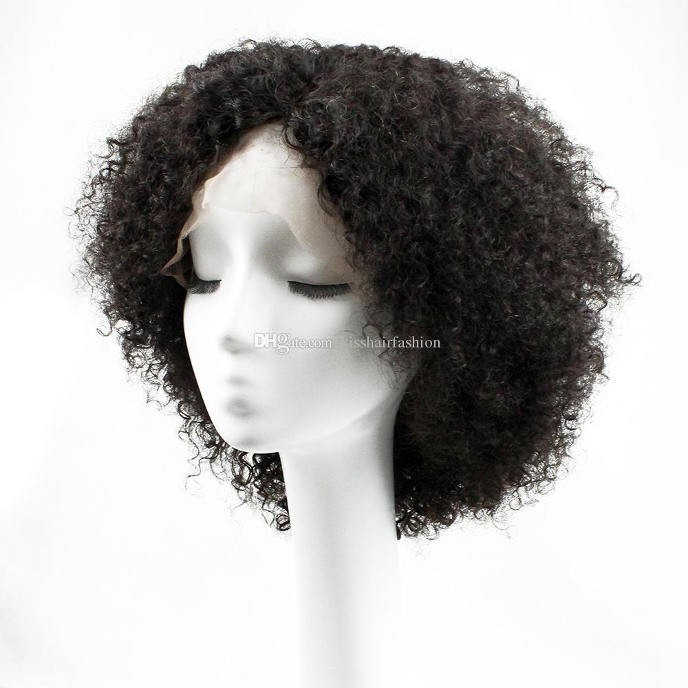 Glueless Lace Front Vierge perruques de cheveux humains Frontal dentelle perruques afro Kinky Curly Free Style Carrure Partie 8-22 pouces perruques afro-américaine