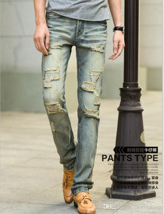 7f514feb342 2019 British Business Casual Men Jeans Pant Ripped Retro Jeans For Mens  Skinny Jean Distressed Slim Elastic Denim Biker Jeans J171010 From  Taotianlang