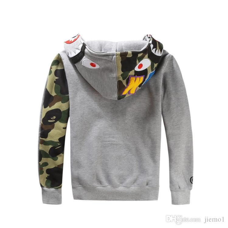 Fashion herren shark hoodies Stickerei Shark MA1 Flug Männliche Gezeiten Shark Hoodie Männer Paare Kapuzenjacken