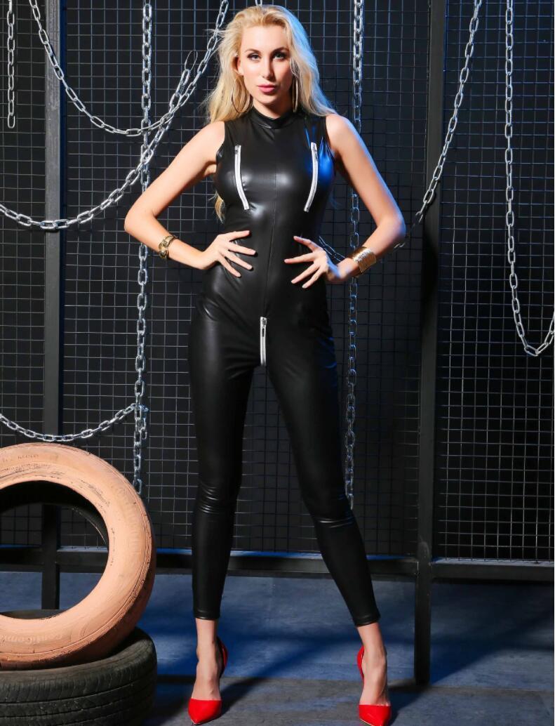 Cupless Style Frauen Schwarz Sexy Sleeveless Reißverschluss Gothic Catsuit Bodycon Biker Fetisch Open Cup Club Jumpsuit Clubwear