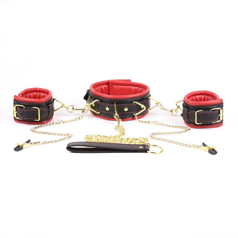 Leather Sponge bondage neck collar hand cuffs nipple clamps bdsm set nipple clamp hand cuffs restraints kit fetish sex tools