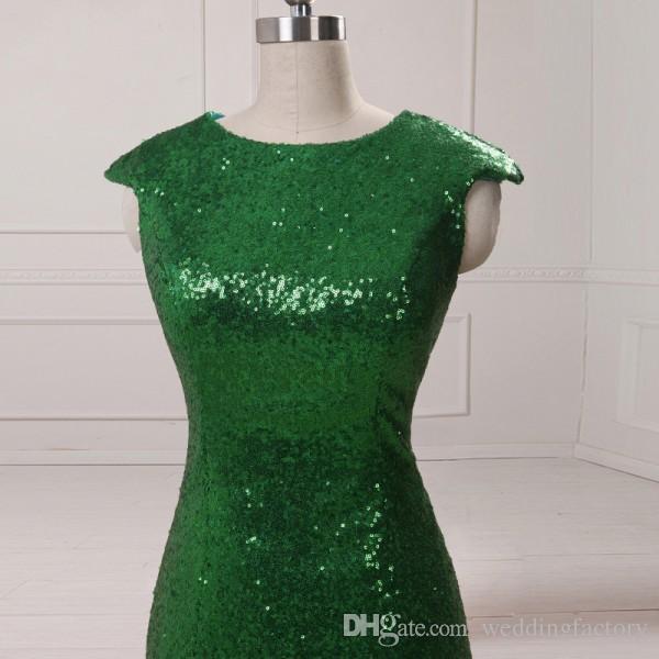 Bling Bling Emerald Green Cekinowy Sukienka Klejnot Neck Zakryta Bez Rękawów Syrenka Elegancka Suknia Wieczorowa Z Split Prom S Gown Sweet Train