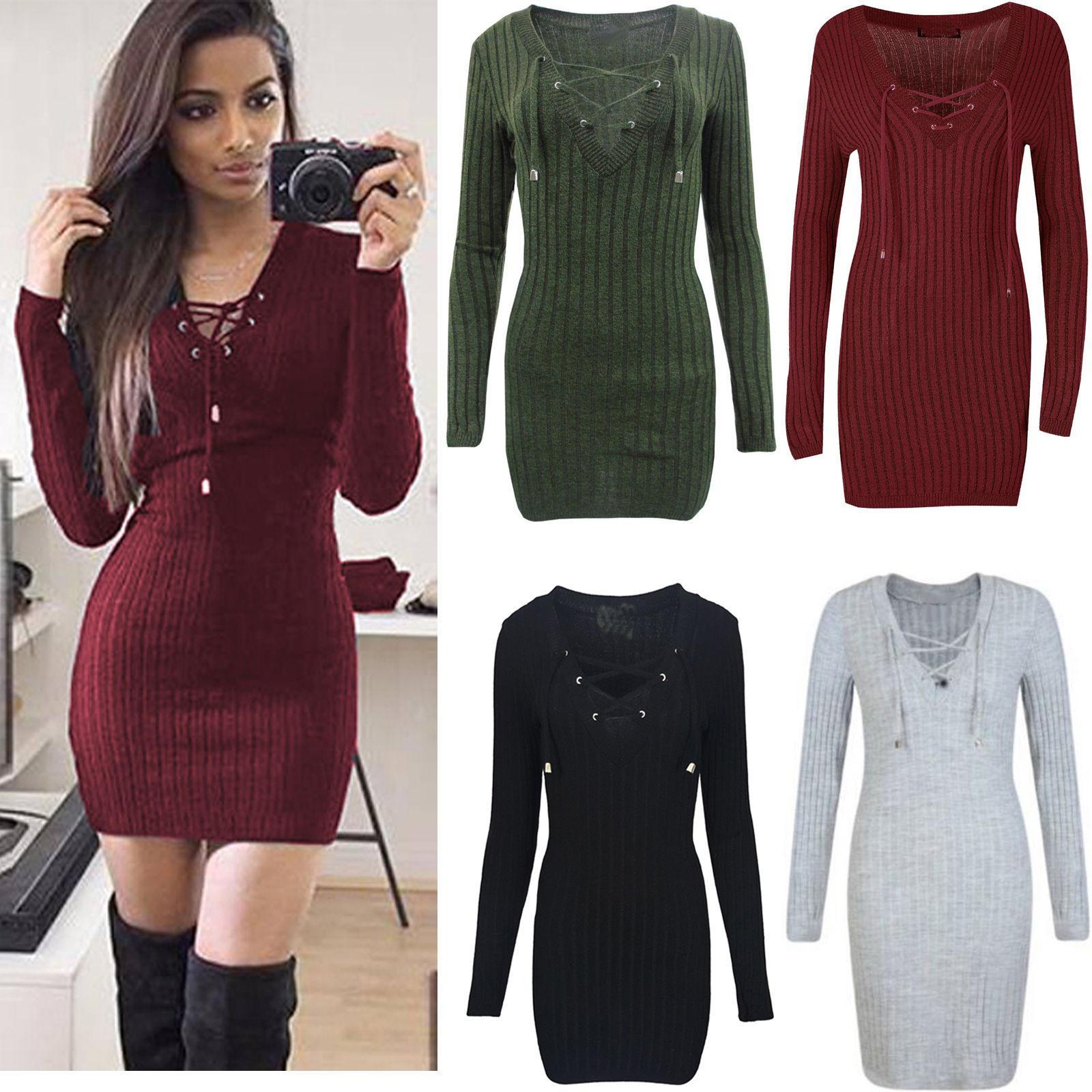 1f3a44b8e0fc Fashion Womens Ladies Eyelet Lace Up Sweater V Neck Pullover Long Sleeve  Ribbed Knitted Jumper Tops Slim Bodycon Short Mini Dress Green Dresses  Cheap Summer ...