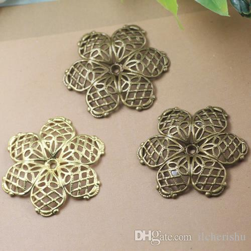 07399 28mm antique bronze silver rose gold gun black filigree flower charms for jewelry making, bead cap metal necklace pendant for bracelet