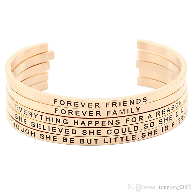 New arrival! Hot Sale Stainless Steel Open Cuff Rose Gold Hand Stamped Bracelet Engraved Words Mantra Bracelet Jewelry