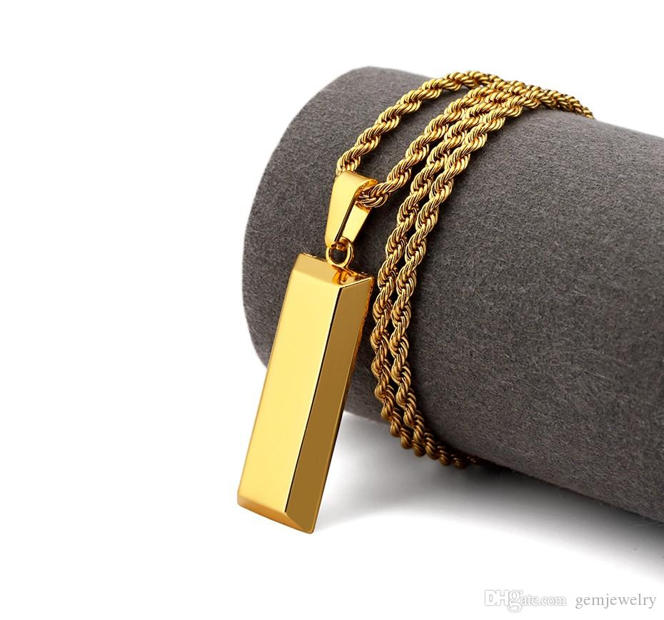 Cube Bar Bullion Necklace Pendant Gold Plated Star Men Hip Hop Dance Charm Franco Chain Golden Jewelry For Gifts