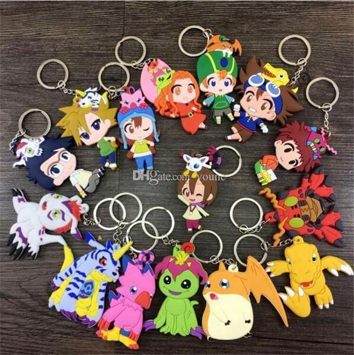 20 adet Mix stil Digimons Action Figure Oyuncaklar Agumon Gabumon Koromon Tanemon Gomamon Piyomon Patamon Pyocomon Bebekler Ile Anahtarlıklar Kolye