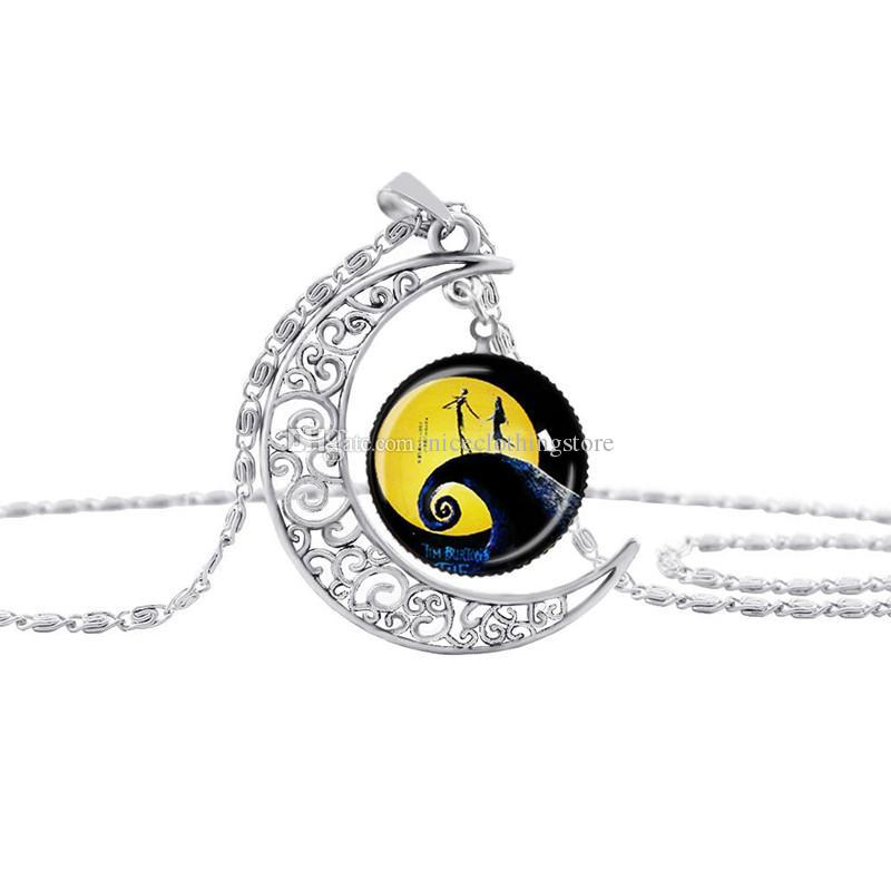 2017 Nightmare Before Christmas glass time gem necklace Cabochon Necklaces jewelry for women Kids Christmas gift