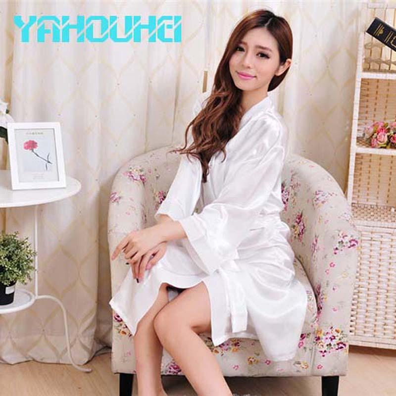 7460d75c8f 2019 Wholesale 2016 Hot Selling Fashion Long Silk Robe White Bride Robe  Sleepwear Satin Kimono Robe 2016 New From Piterr
