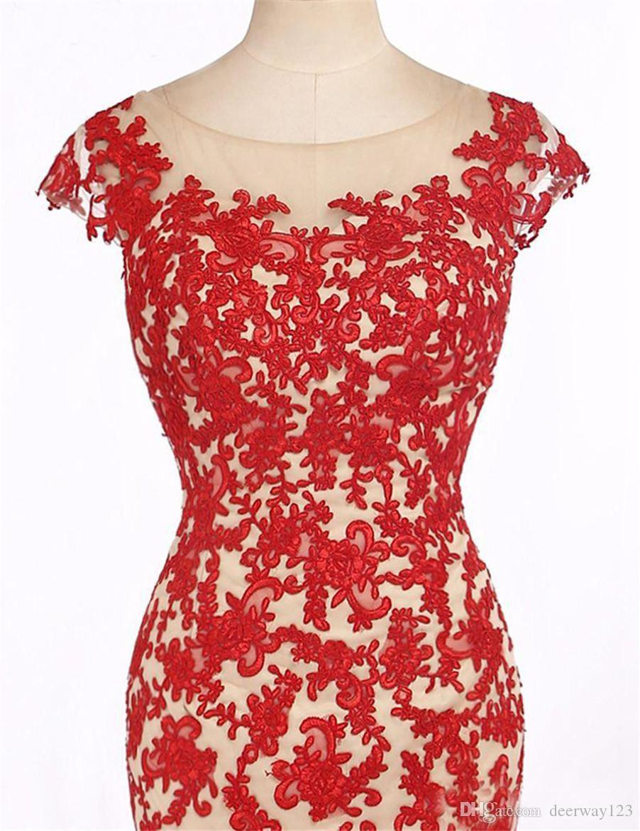 Вечерние платья с короткими рукавами Вечерние платья Вечерние платья Robe De Soiree Longue Красные кружевные аппликации Обнаженные сексуальные вечерние платья без спинки
