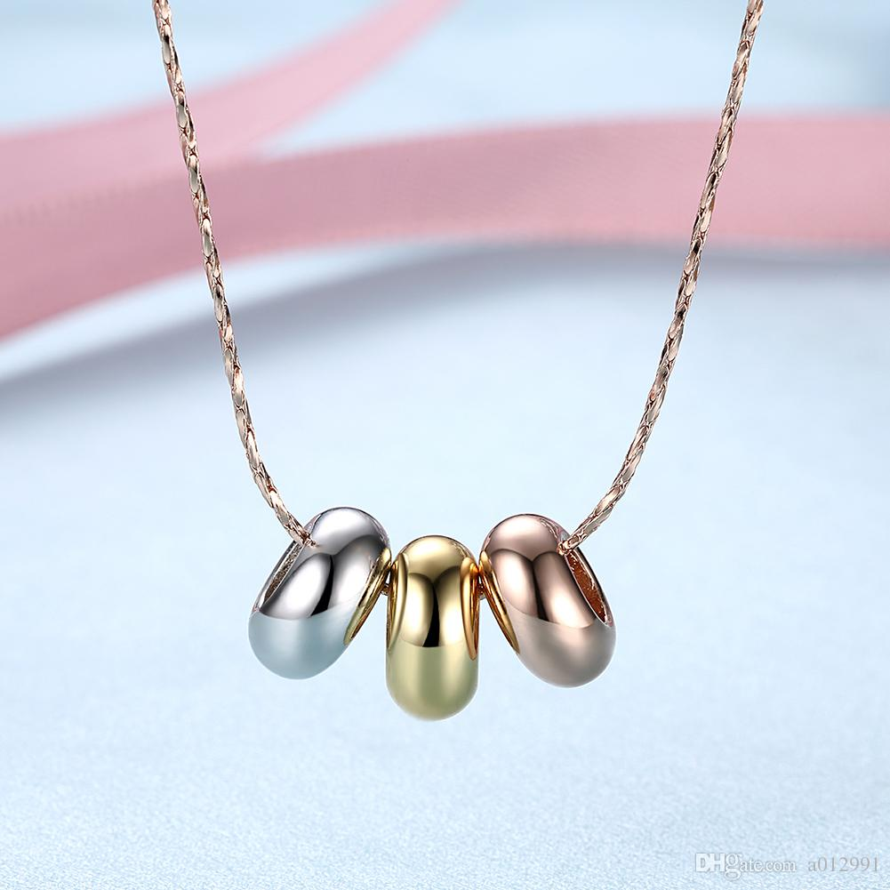 Balls Pendant Necklace Gold Platinum Rose Gold Plated Round Rings Necklace Fashion Crystal Jewelry Best Gift for Women Girls