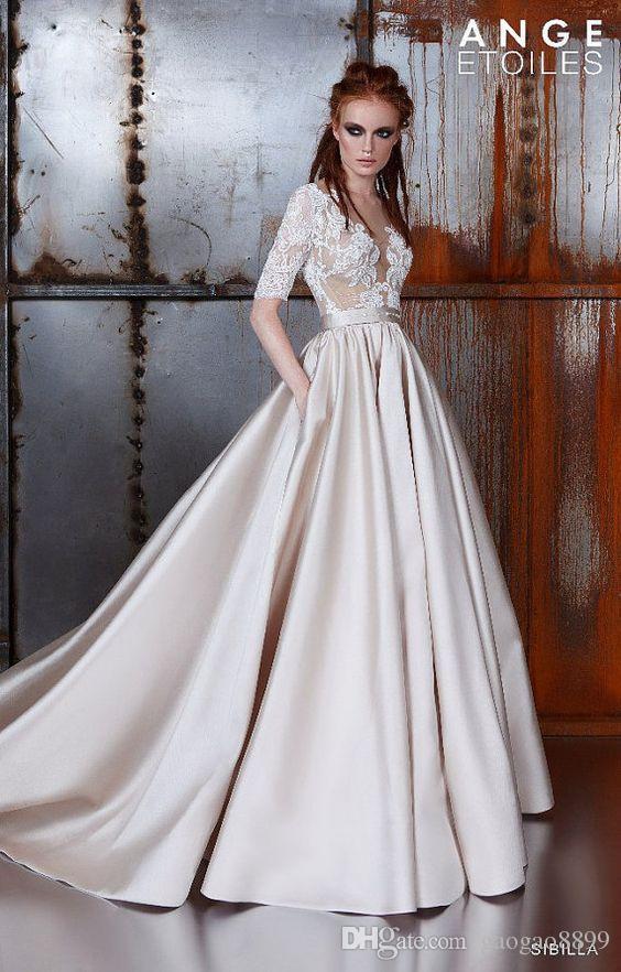 2019 Ange Etoiles Vintage Dantel Leke Şampanya Yarım Kollu Gelinlik Modelleri Sheer Boyun Kaplı Alt Ucuz Dubai Arapça Durum Elbisesi