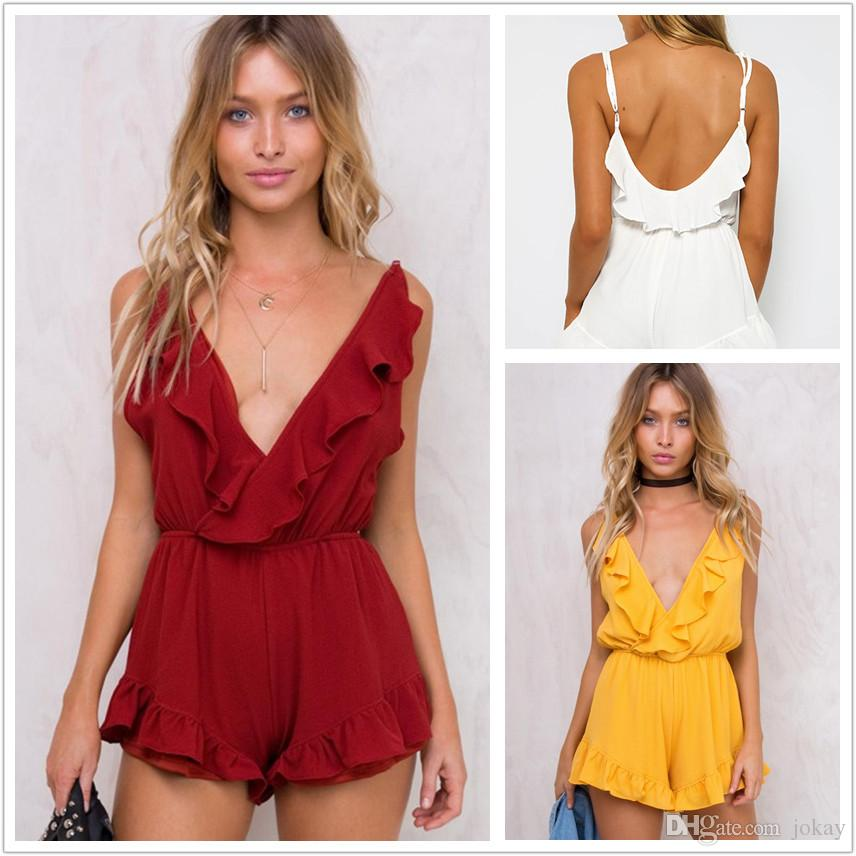 d9dbe2596fc 2019 Women Summer Short Jumpsuits Deep V Nice Backless Off Shoulder Loose  Playsuit Solid Rompers Bodysuit Overall Plus Size From Jokay