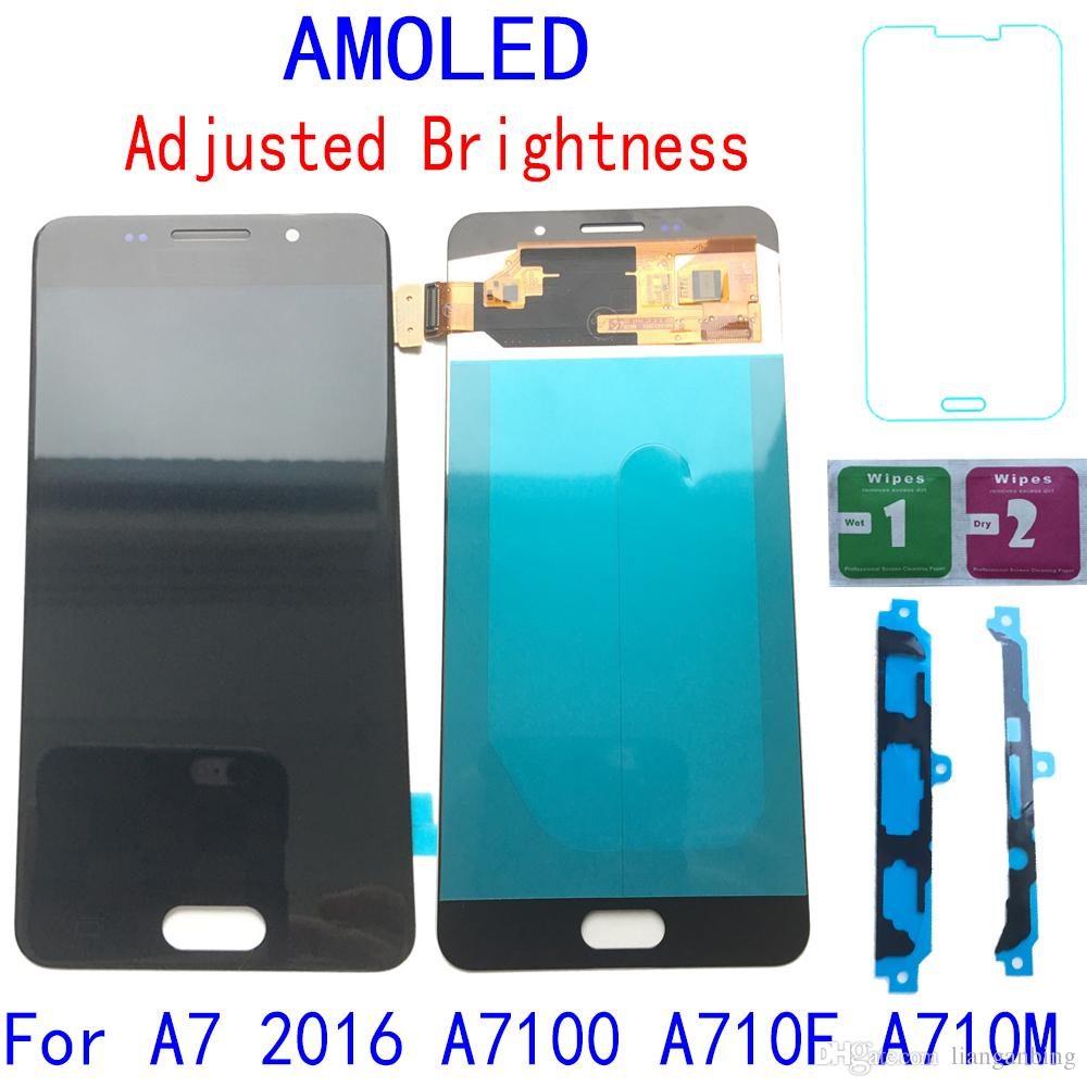 Super AMOLED LCD Display Touch Screen Digitizer For Samsung Galaxy A7 2016 A710 A710F Black White Gold With Tempered Glass DHL logistics