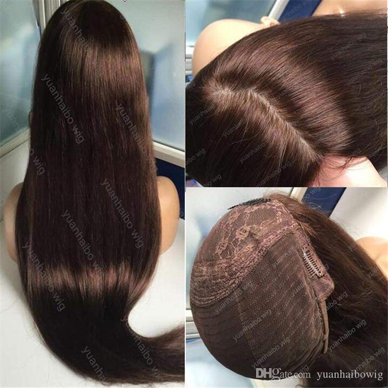 8A Grade-Menschenhaar-Brown-Farbe 4 beste Scheitels Silk Spitzenjüdische Perücke mongolisches reines Haar-gerade reine Perücke Capless Perücken geben Verschiffen frei
