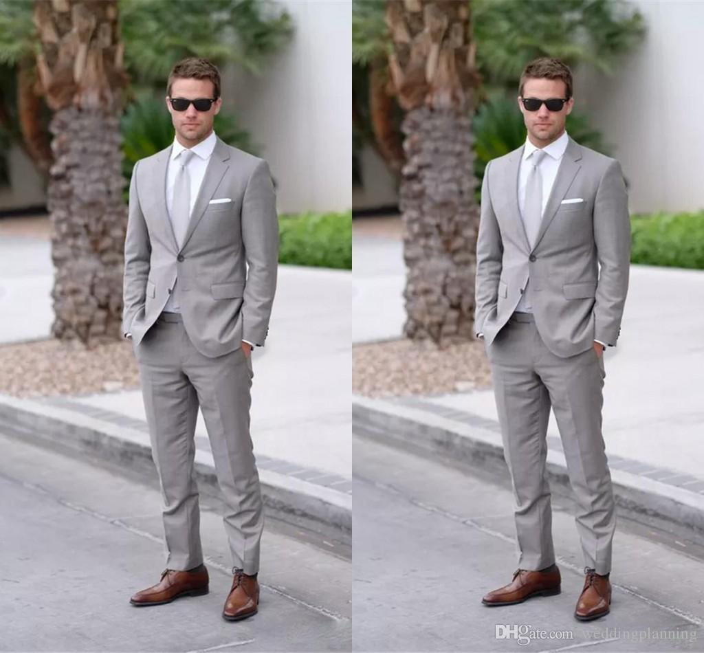 Wedding Dresses For Men: Two Buttons Gray Mens Suits Lapel Wedding For Men Groom