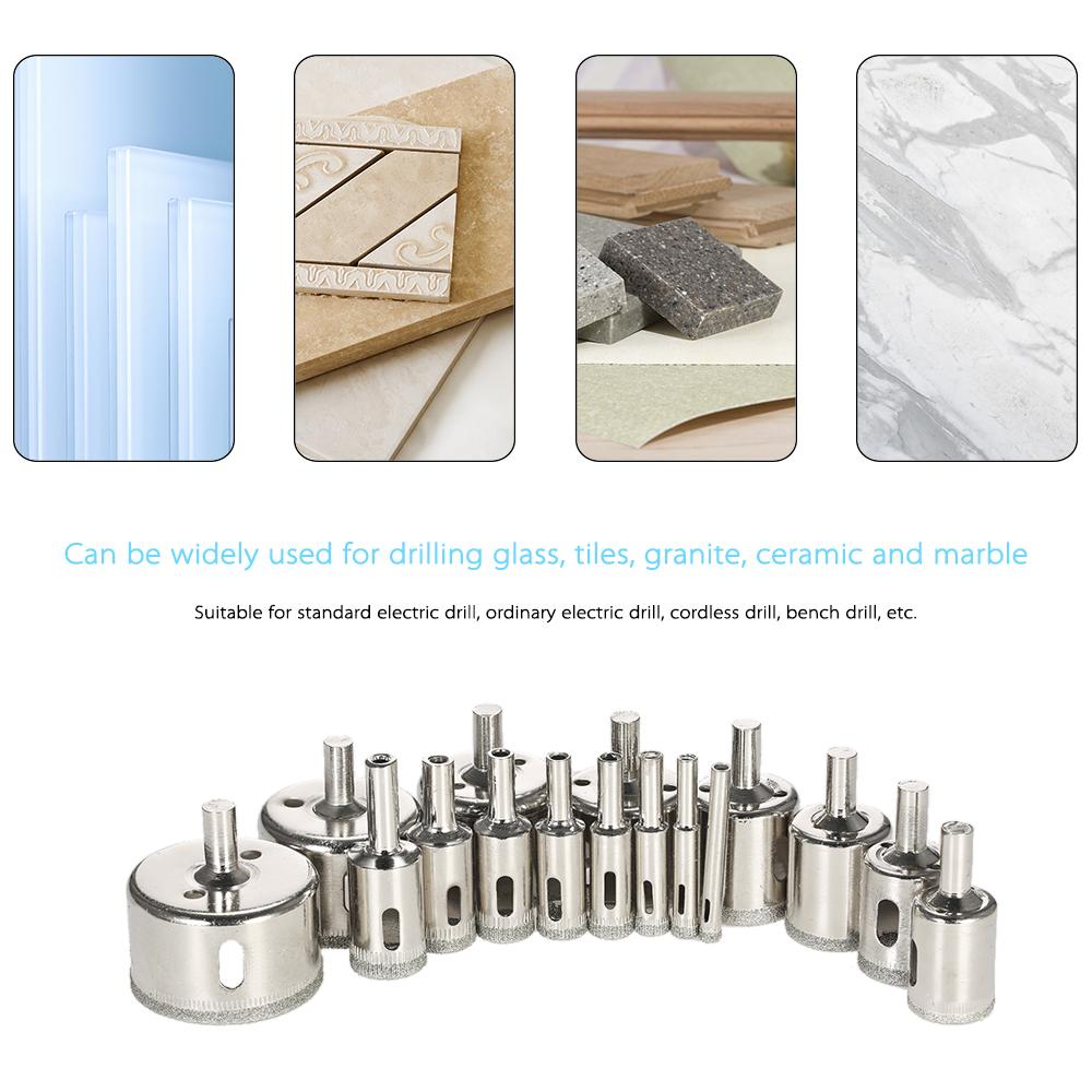 16PCS 6-50mm Glass Hole Saw Kit diamond core bit for tile Marble Drill Bit set Tile Ceramic Glass Porcelain drilling power tools