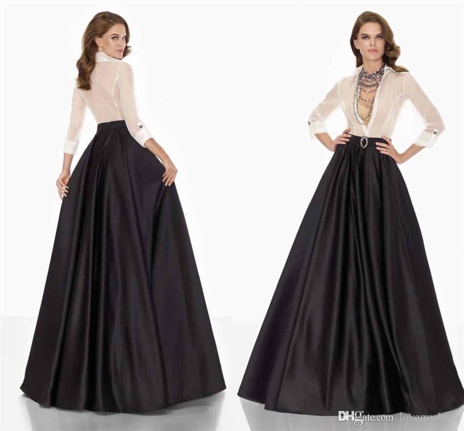 A Line Dresses Formal Evening Gown V Neck Long Sleeve ...
