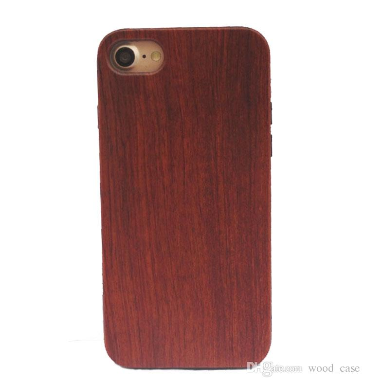 Wholesale Price Wood Case For Iphone 7 plus Real Blank Wooden TPU Phone Cover For Iphone 6 6s plus Samsung Galaxy S8 Plus Wood Cases DHL