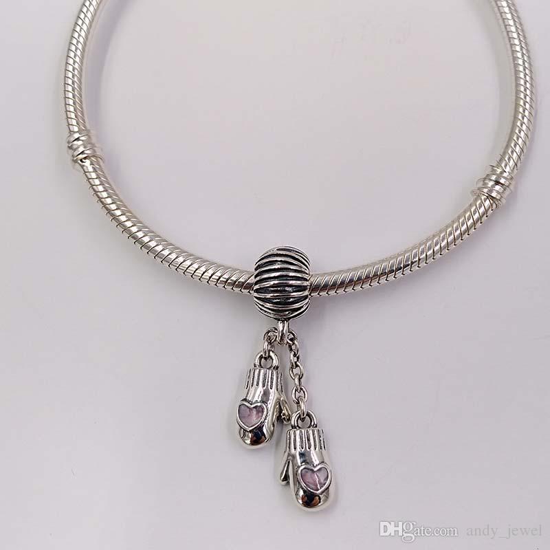 Regalos de Navidad S925 Sterling Silver Beads Pink Mitones de lana Cuelga Charm Fit Pandora ALE Style conchas de mar joyería Pulseras Collar