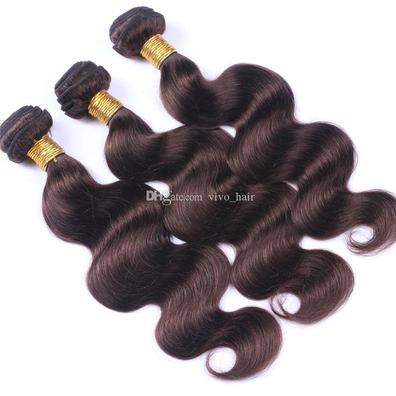 "Dark Brown Body Wave Virgin Hair 3 Bundles 10""-30"" Colored #2 Chocolate Brown Peruvian Human Hair Weaves Hair Extensions"