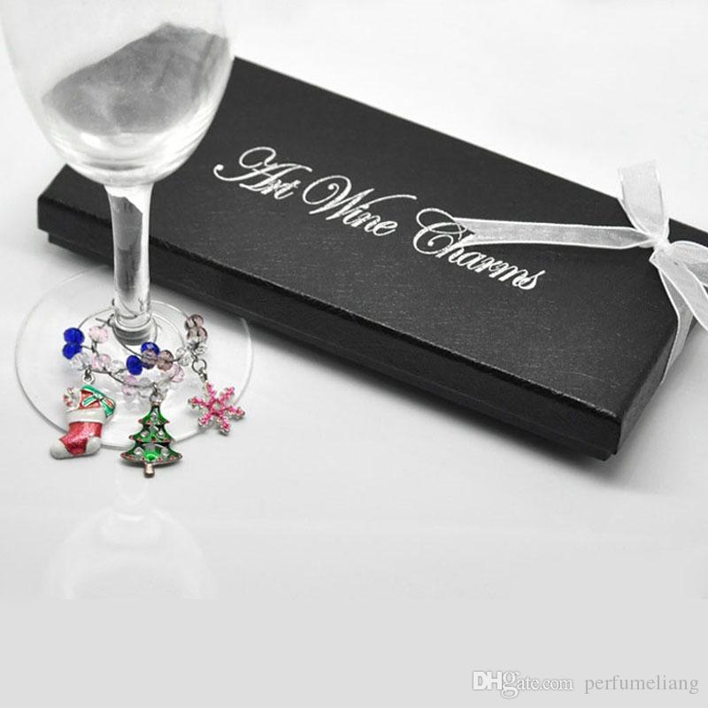 Wine Glass Charms Pendants Enamel Christmas Tree Wine Glass Marker Mixed Wedding Party Christmas Decoration ZA2990