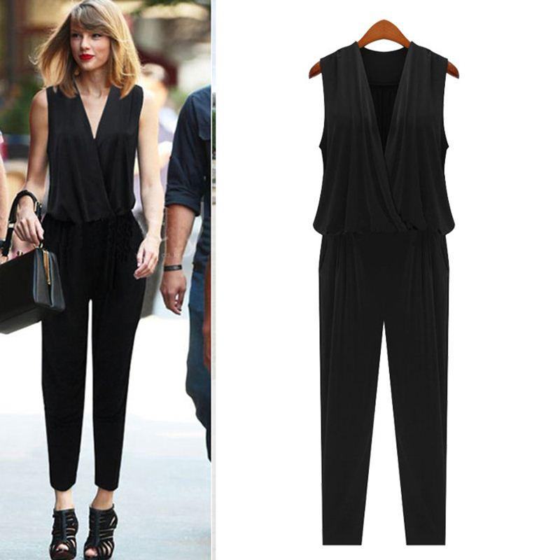 US Women fashion Jumpsuits Spring Slim fit Pants V neck Sleeveless M-XXXL Brand jumpsuit Overalls for women Playsuits Bodysuits